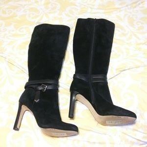 Antonio Melani Black High Heel Suede boots Size 8.